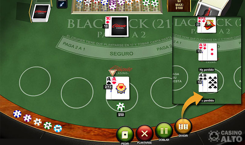 blackjack dividir